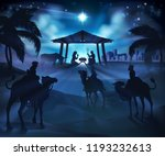 christmas nativity scene  baby... | Shutterstock .eps vector #1193232613