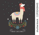 llama in red scarf and hat ... | Shutterstock .eps vector #1193243443