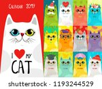 calendar 2019 with cute cats.... | Shutterstock .eps vector #1193244529