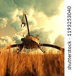 a giant mech in grass field 3d... | Shutterstock . vector #1193253040