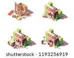 vector isometric new shop or...   Shutterstock .eps vector #1193256919