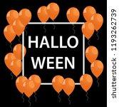 frame with orange ballons for... | Shutterstock . vector #1193262739