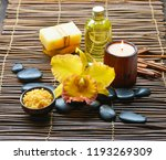 spa setting on mat with  yellow ...   Shutterstock . vector #1193269309