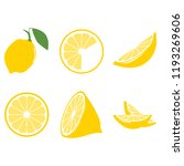 lemon whole and in the cut | Shutterstock .eps vector #1193269606