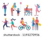 people entertaining in park... | Shutterstock .eps vector #1193270956