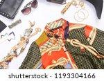 fashion sundress with handbag ... | Shutterstock . vector #1193304166
