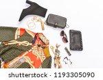 fashion sundress with handbag ... | Shutterstock . vector #1193305090