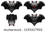 vector set of halloween bat... | Shutterstock .eps vector #1193317903