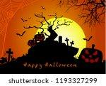 spooky pumpkins halloween  in... | Shutterstock .eps vector #1193327299