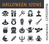 set of halloween icons black... | Shutterstock .eps vector #1193335936