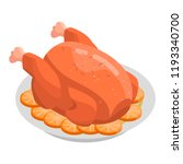cooked turkey icon. isometric... | Shutterstock .eps vector #1193340700