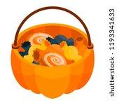 halloween candy basket icon.... | Shutterstock .eps vector #1193341633