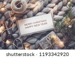 winter holiday composition with ... | Shutterstock . vector #1193342920