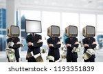 businessmen in suits with tv... | Shutterstock . vector #1193351839