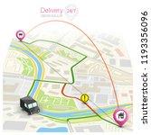 city map navigation route ... | Shutterstock .eps vector #1193356096