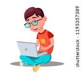 little boy doing homework at... | Shutterstock .eps vector #1193357389