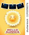 summer background with big sun  ... | Shutterstock .eps vector #1193358376