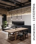 Small photo of Luminous room in a loft style with brick walls, wooden ceiling and a parquet with a carpet on a floor. There is a long wooden table with black chairs, different lamps, window, gray sofa, green plant.