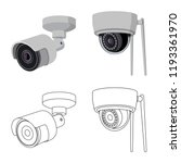 isolated object of cctv and... | Shutterstock .eps vector #1193361970