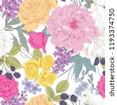 botanical seamless pattern with ... | Shutterstock .eps vector #1193374750
