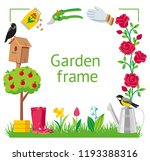 garden frame cartoon style.... | Shutterstock .eps vector #1193388316