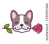 Stock vector funny cartoon french bulldog puppy holding rose in mouth cute valentines day dog greeting card 1193391466