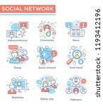 social network concept icons ... | Shutterstock .eps vector #1193412196