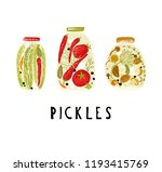 pickles with tomatoes  peppers  ... | Shutterstock .eps vector #1193415769