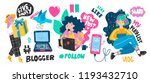 cute blogger girls and various... | Shutterstock .eps vector #1193432710
