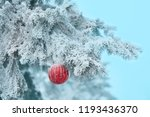 red christmas ball on frosty... | Shutterstock . vector #1193436370