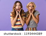 two pretty shocked young girls... | Shutterstock . vector #1193444389