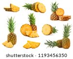 set of juicy pineapples on... | Shutterstock . vector #1193456350