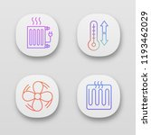 air conditioning app icons set. ...