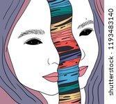 vector face girl portrait... | Shutterstock .eps vector #1193483140