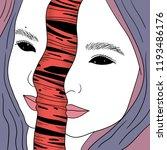 vector face girl portrait... | Shutterstock .eps vector #1193486176