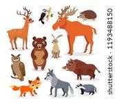 wild europe animals set in flat ... | Shutterstock .eps vector #1193488150