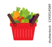 shopping basket with fresh... | Shutterstock .eps vector #1193519089