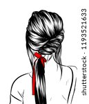 fashion art of a girl with long ... | Shutterstock .eps vector #1193521633