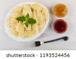 cooked dumpling with spearmint... | Shutterstock . vector #1193524456