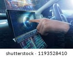 in a futuristic world a person... | Shutterstock . vector #1193528410
