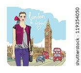 fashion girl in london.vector ... | Shutterstock .eps vector #119354050