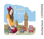 fashion girl in london.vector ... | Shutterstock .eps vector #119354056