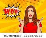 wow pop art face. sexy... | Shutterstock .eps vector #1193570383