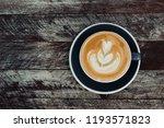 top view of hot coffee latte... | Shutterstock . vector #1193571823