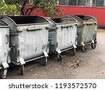 empty big gray garbage... | Shutterstock . vector #1193572570