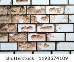 white brick.broken tile wall...   Shutterstock . vector #1193574109