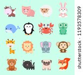 Stock vector set of vector funny animals in cartoon style cute animals on color background 1193578309