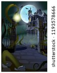 dark gothic house with flying... | Shutterstock .eps vector #1193578666