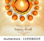 illustration of happy diwali ... | Shutterstock .eps vector #1193580529