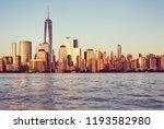 new york city at sunset ... | Shutterstock . vector #1193582980